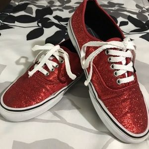 Vans Red Glitter Sneakers - Size 8